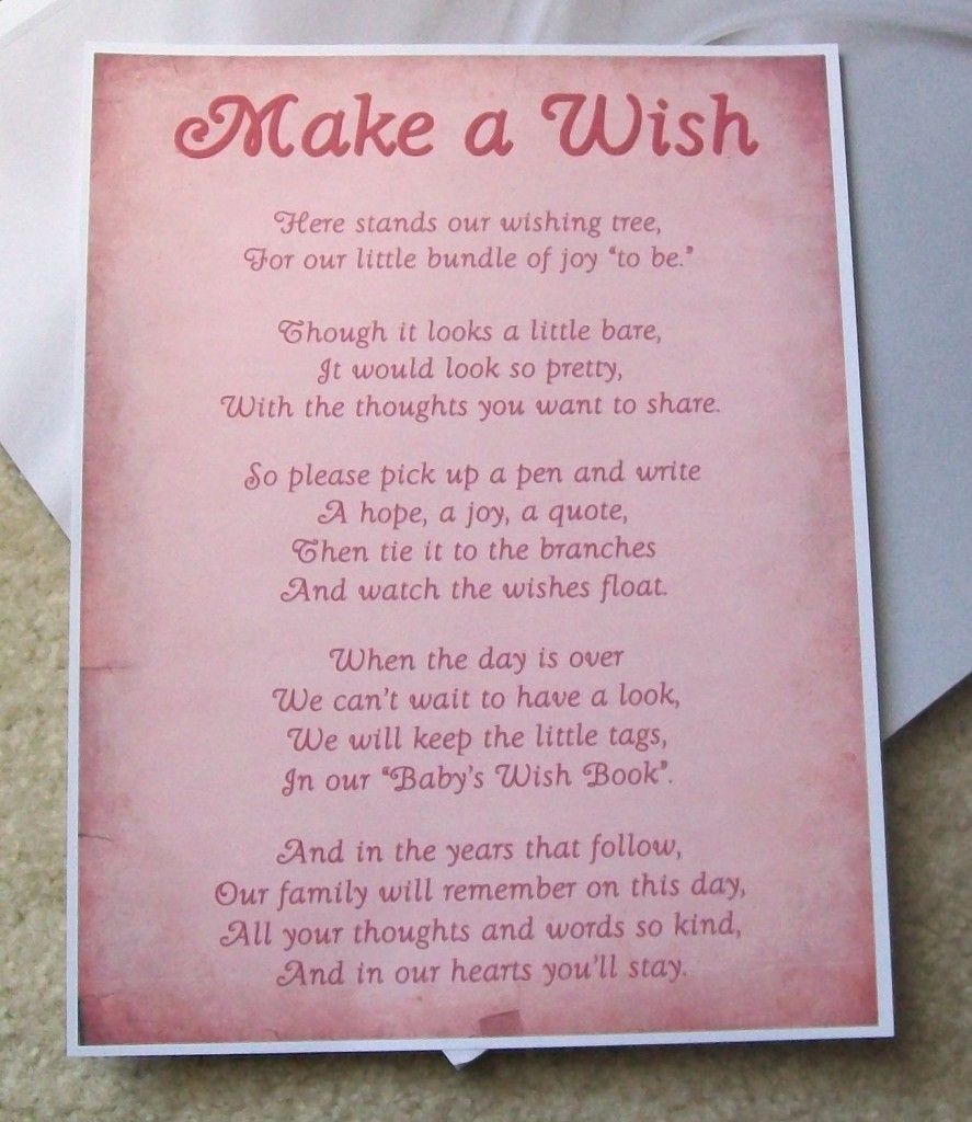 Wishing Tree Tags Instructions Sign Baby Shower