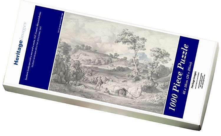 Jigsaw Puzzle. Southern landscape with a man and a snake, 1847. Creator: Heinrich Dreber