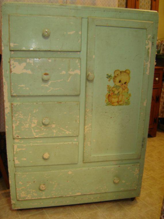 Vintage Baby Child Armoire Closet Bureau By VintageIdeology, $225.00
