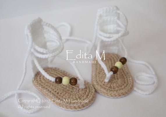 aebe1d11162 Sale crochet baby sandals gladiator sandals baby slippers