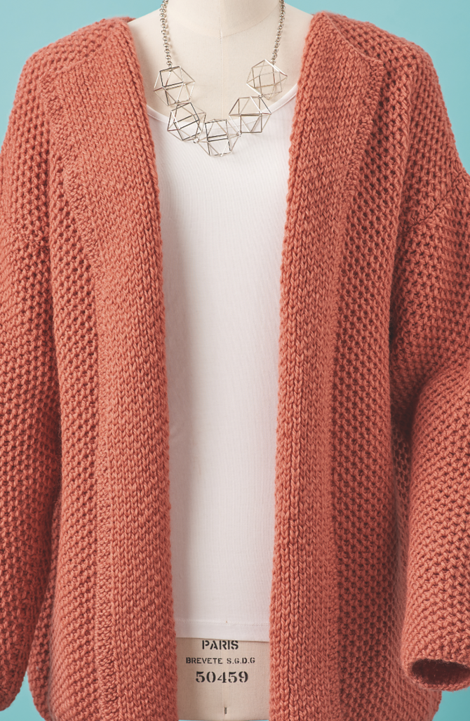 6bbe253e8efe7 Knitting Pattern Simple Knits Cardigan - The all-over honeycomb brioche  stitch is simple to master but looks so sophisticated in this draped front  cardigan ...