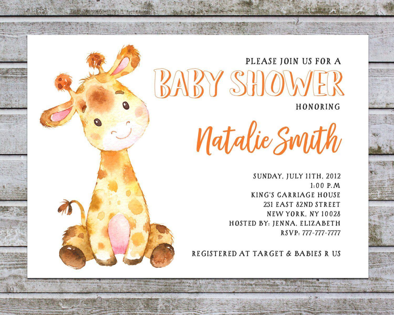 Baby Shower Invitation Gender Neutral Printable Giraffe Baby Etsy In 2021 Giraffe Baby Shower Invitations Baby Shower Giraffe Baby Shower Invitation Templates