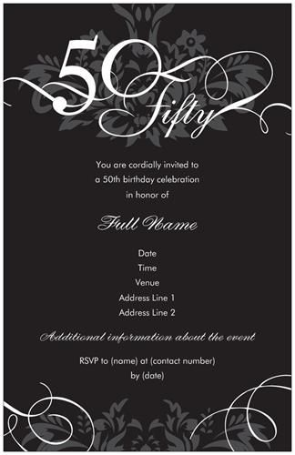 Elegant Custom Fiftieth Birthday Invitations
