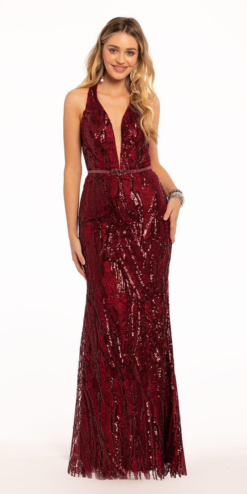 Sequin Halter Plunge Belt Dress Elegant Wedding Guest Dress Formal Dresses Prom Dresses [ 1600 x 800 Pixel ]