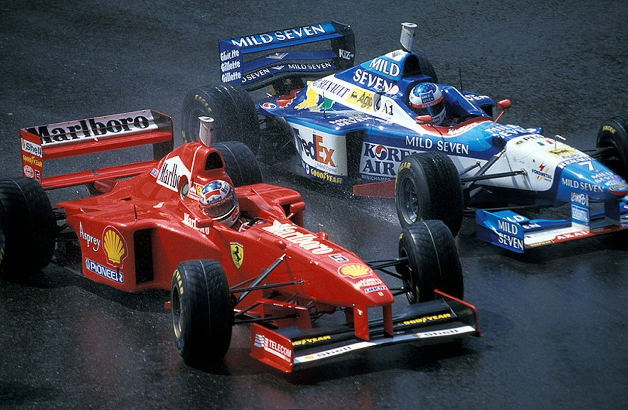 1997 Belgian Grand Prix Michael Schumacher And Jean Alesi Michael Schumacher Formula 1 Car Belgian Grand Prix