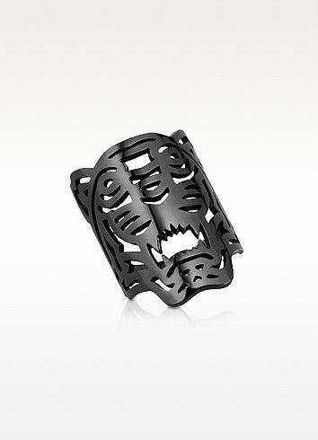 KENZO Ruthenium Plated Sterling Oversized Tiger Ring. #kenzo #ruthenium plated sterling oversized tiger ring