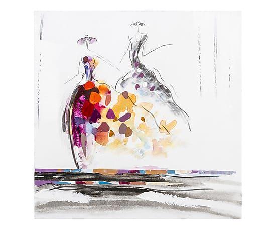 Olio su tela con telaio in legno Dame in festa - 60x60x3 cm