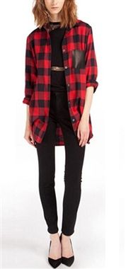 Stunning Tartan Shirt with Faux Leather Details £19.99