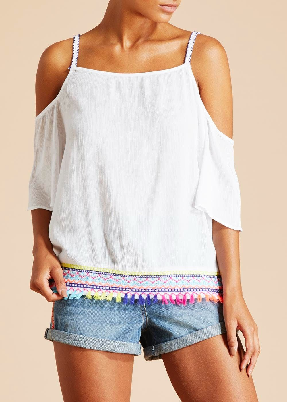 15861a361c Falmer Embroidered Tassel Cold Shoulder Blouse | Clothes, shoes and ...