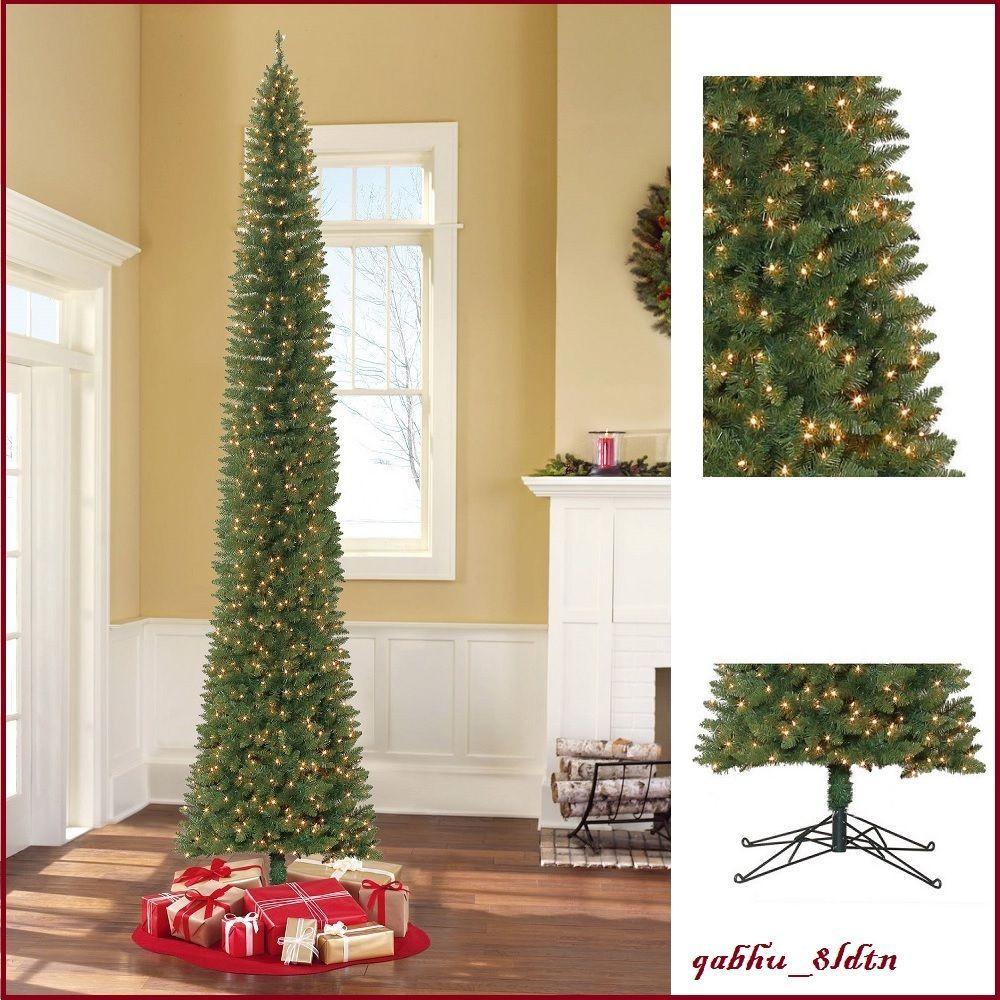 35f946043f6 12 pre lit pencil christmas tree clear lights tall narrow holiday decor  green