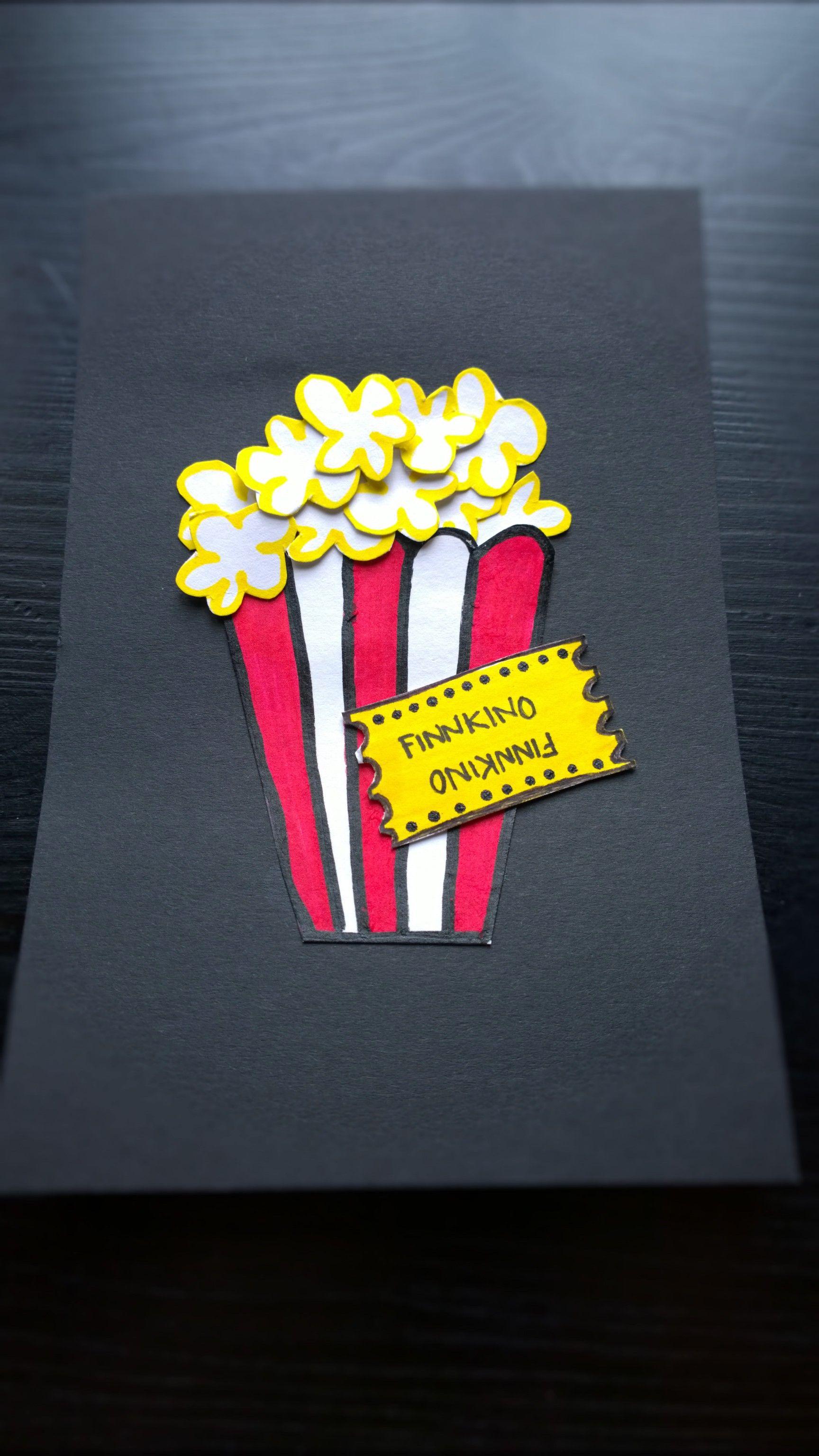 Syntymäpäiväkortti kummipojalle, lahjakortti elokuviin. Finnkino. Birthdaycard, movies, popcorn. :P