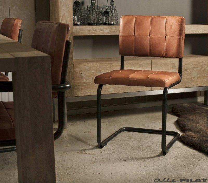 Leren eetkamerstoel nelson industrial stool storage for Eettafel stoelen cognac