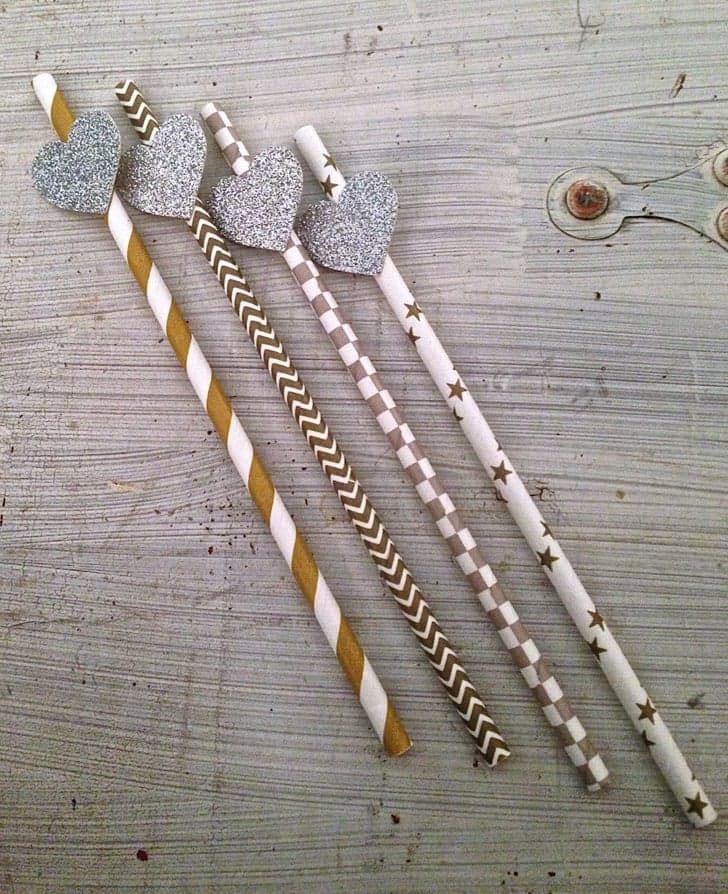 Pin for Later: 57 Affordable Bridal Shower Products That Are Too Cute to Pass Up Silver & Gold Party Straws Silver & Gold Party Straws ($20)