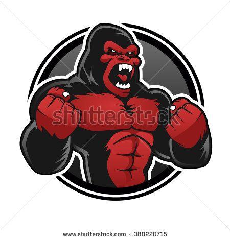 Angry Gorilla Desenho Vetorial Estampas Vetores