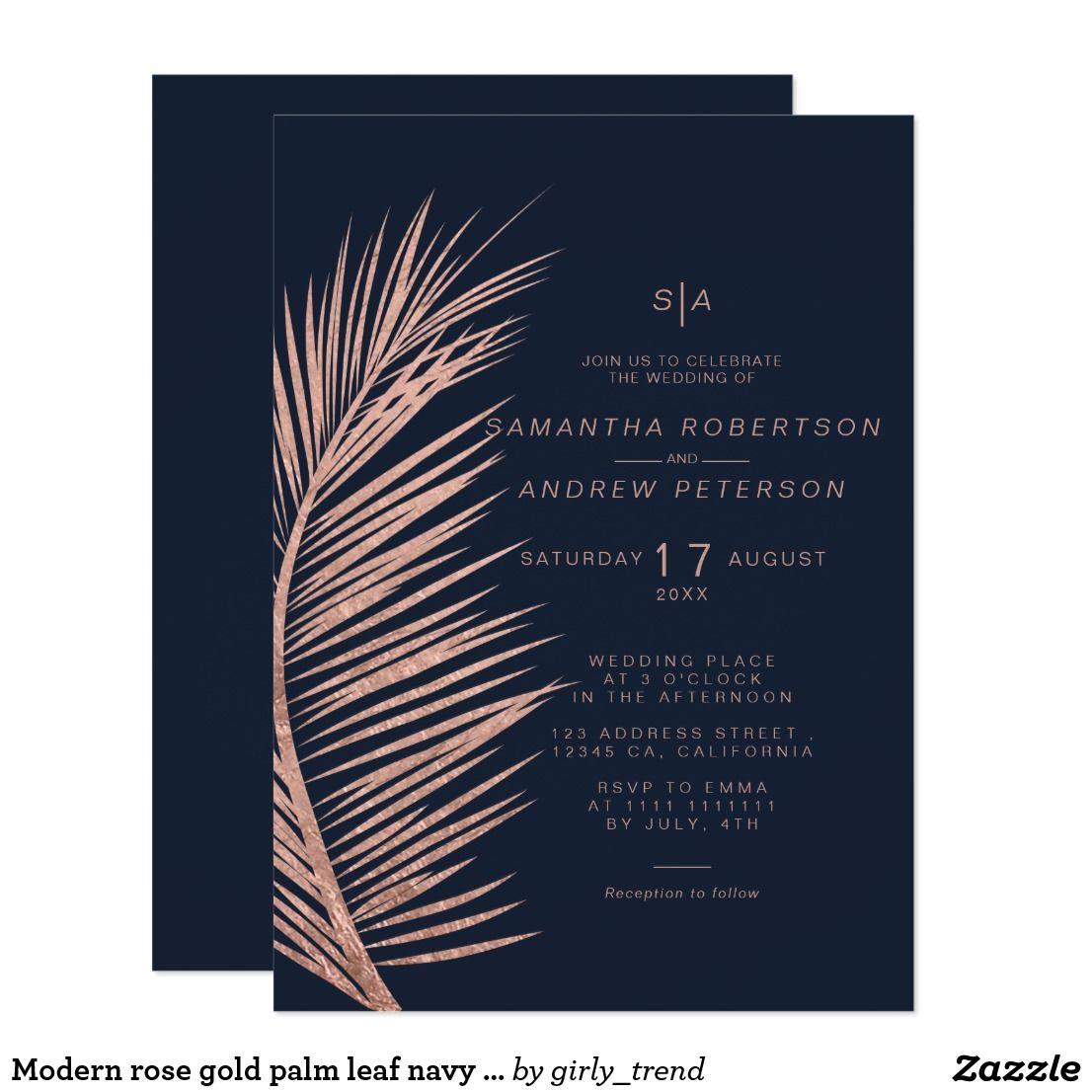Navy Blue Wedding Invitations Modern: Modern Rose Gold Palm Leaf Navy Blue Wedding Invitation