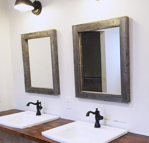 Set Of Two Rustic Reclaimed Wood Mirrors Great For A Bathroom With Double Sink Size 28 X 34 Including The Frame Frames Are Hair Under 2 3 4in
