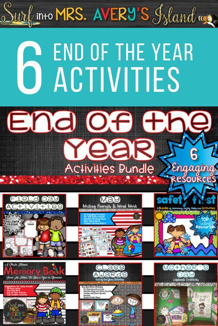 This bundle of end of the year activities includes over 200 pages of fun, engaging ideas for students in elementary school!  Click here to take a look and see what other teachers have to say about these no-prep printables that are guaranteed to keep your students busy while you wrap up the school year!  The following resources are included:  memory book, class awards, Mother's Day lap book, swim safety, May writing prompts, plus a FREE Field Day activity booklet!