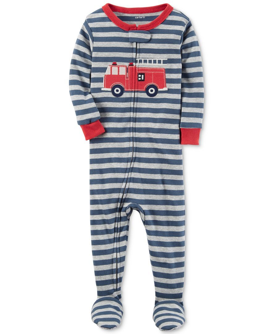 Carter S 1 Pc Striped Firetruck Footed Pajamas Baby Boys 0 24 Months Carters Baby Boys Cotton Pjs Baby Boy Pajamas