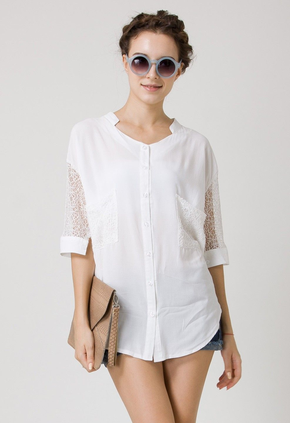 Best Lace Forward Shirt in Black - Retro, Indie and Unique Fashion