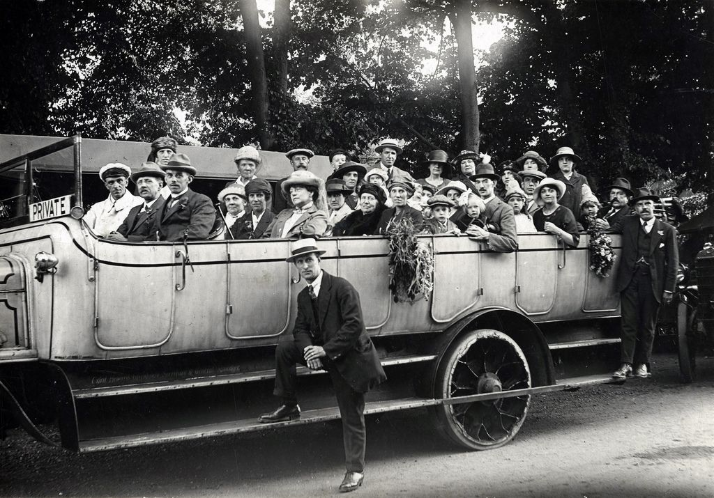 Charabanc outing, possibly National Hospital for the Paralysed and Epileptic in Queen's Square.