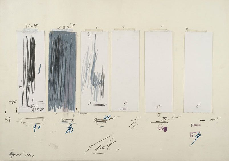 """""""Untitled,"""" 28 May 1970, Cy Twombly. Crayon, graphite pencil, ink, oil stick, colored pencil, tape, and cut and torn paper on paper. The Menil Collection, Houston, gift of the artist."""