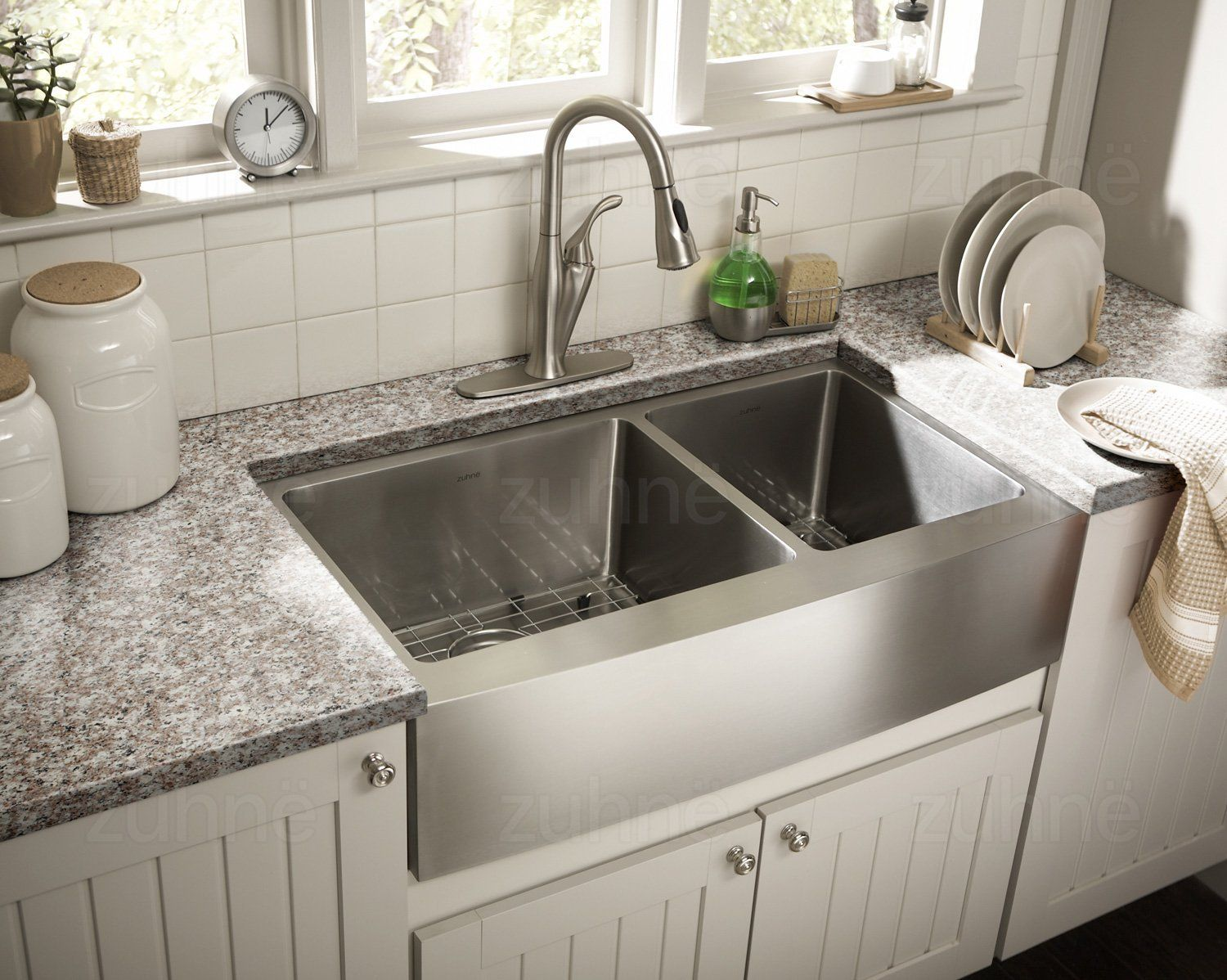 Zuhne Turin 33 Inch Farmhouse Apron 60 40 Deep Double Bowl 16 Gauge Stainless Steel Luxury K Apron Front Kitchen Sink Apron Sink Kitchen Farmhouse Sink Kitchen
