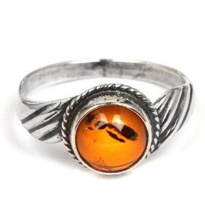 Sterling Silver Amber Round Classic Ring Available at joyfulcrown.com