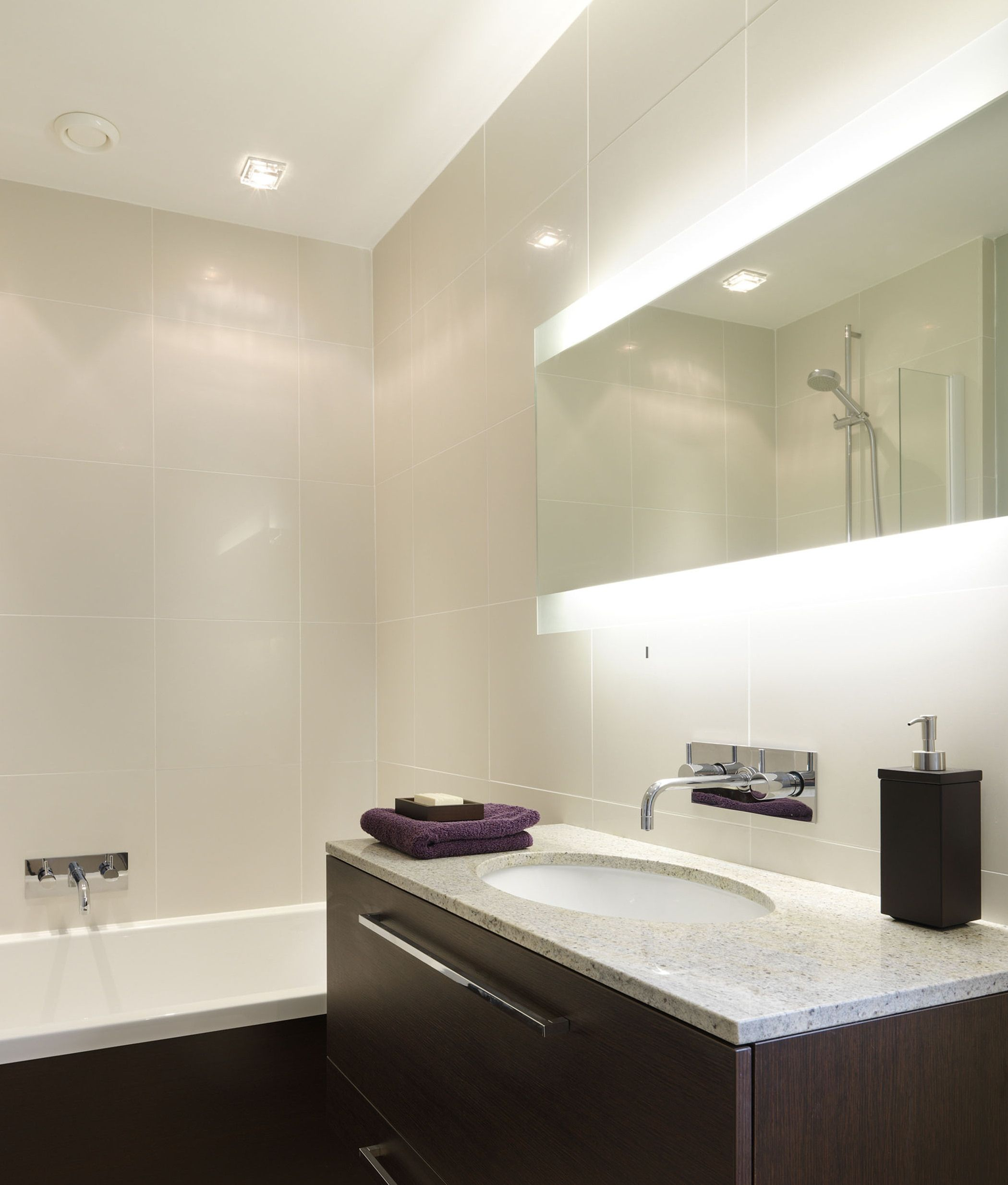 If You Have A Wide Sink You Need A Wide Mirror This Looks Wonderful When Lit And You Best Bathroom Lighting Bathroom Lighting Design Modern Bathroom Lighting