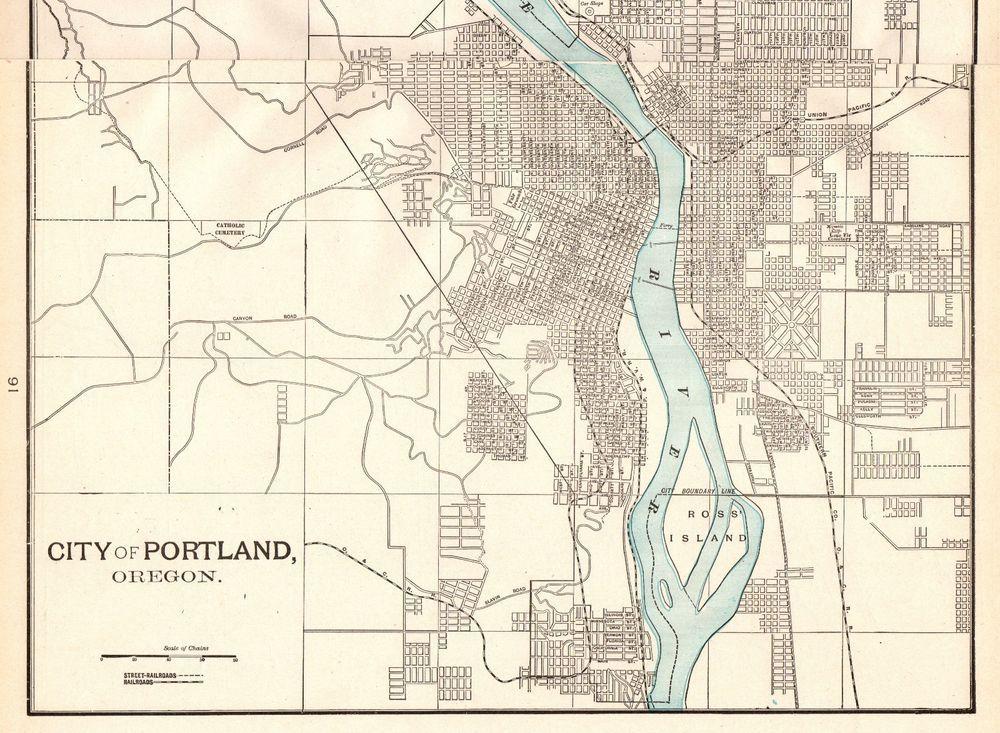 1902 Antique PORTLAND Map Vintage Map of Portland Oregon Gallery ...