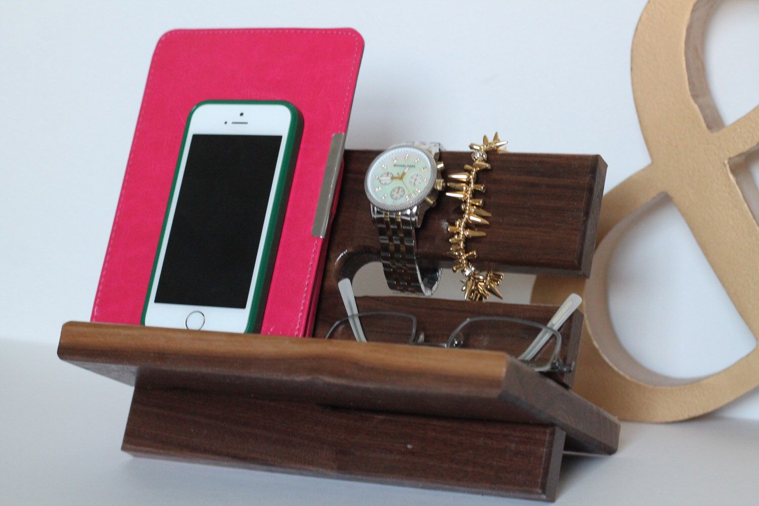 Beautiful solid walnut wood valet iphone galaxy charging stand