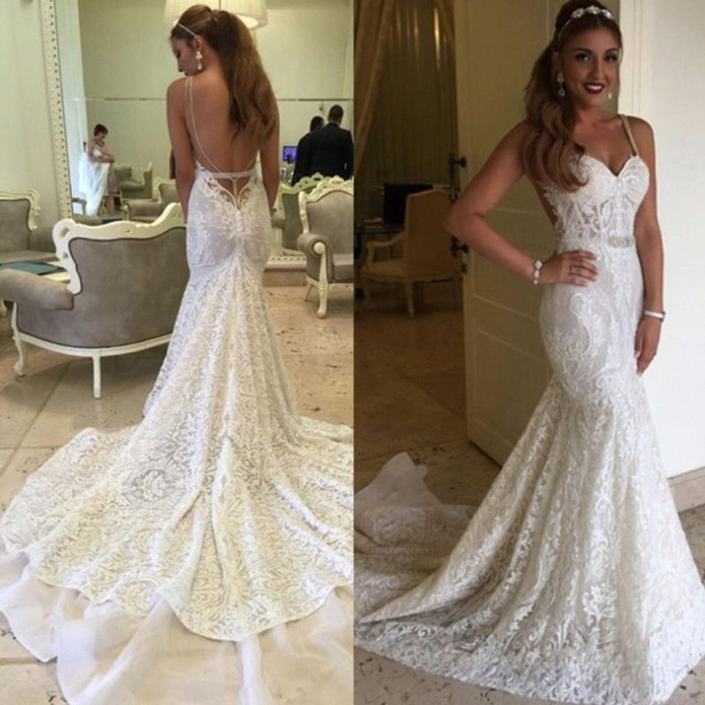 Sexy mermaid spaghetti backless lace bridal gown wedding party