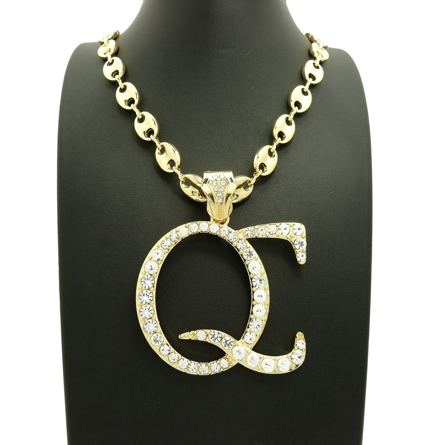 Iced out qc pendant 10mm30 marina link chain hip hop iced out qc pendant 10mm30 marina link chain mozeypictures Gallery