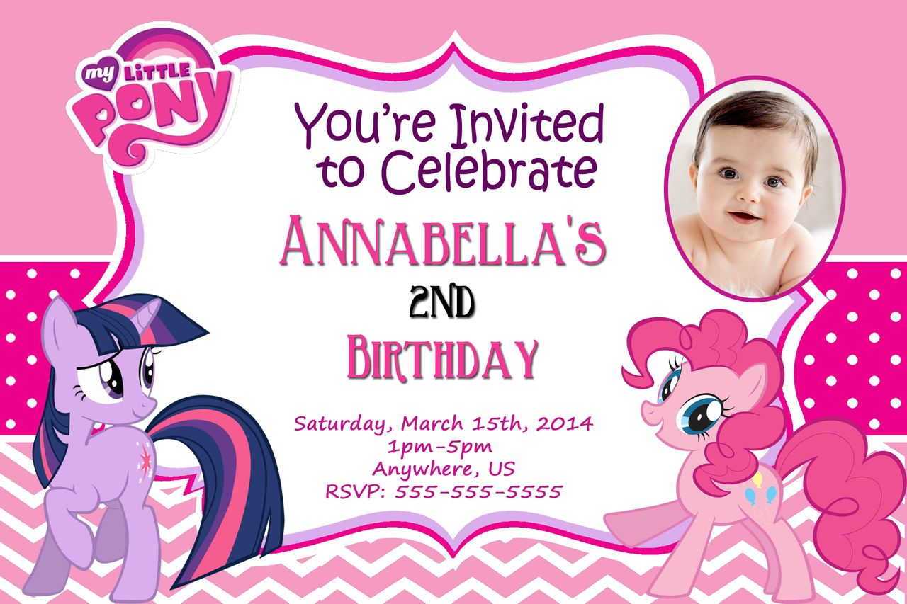 Download Now FREE Template My Little Pony Personalized Birthday Invitations