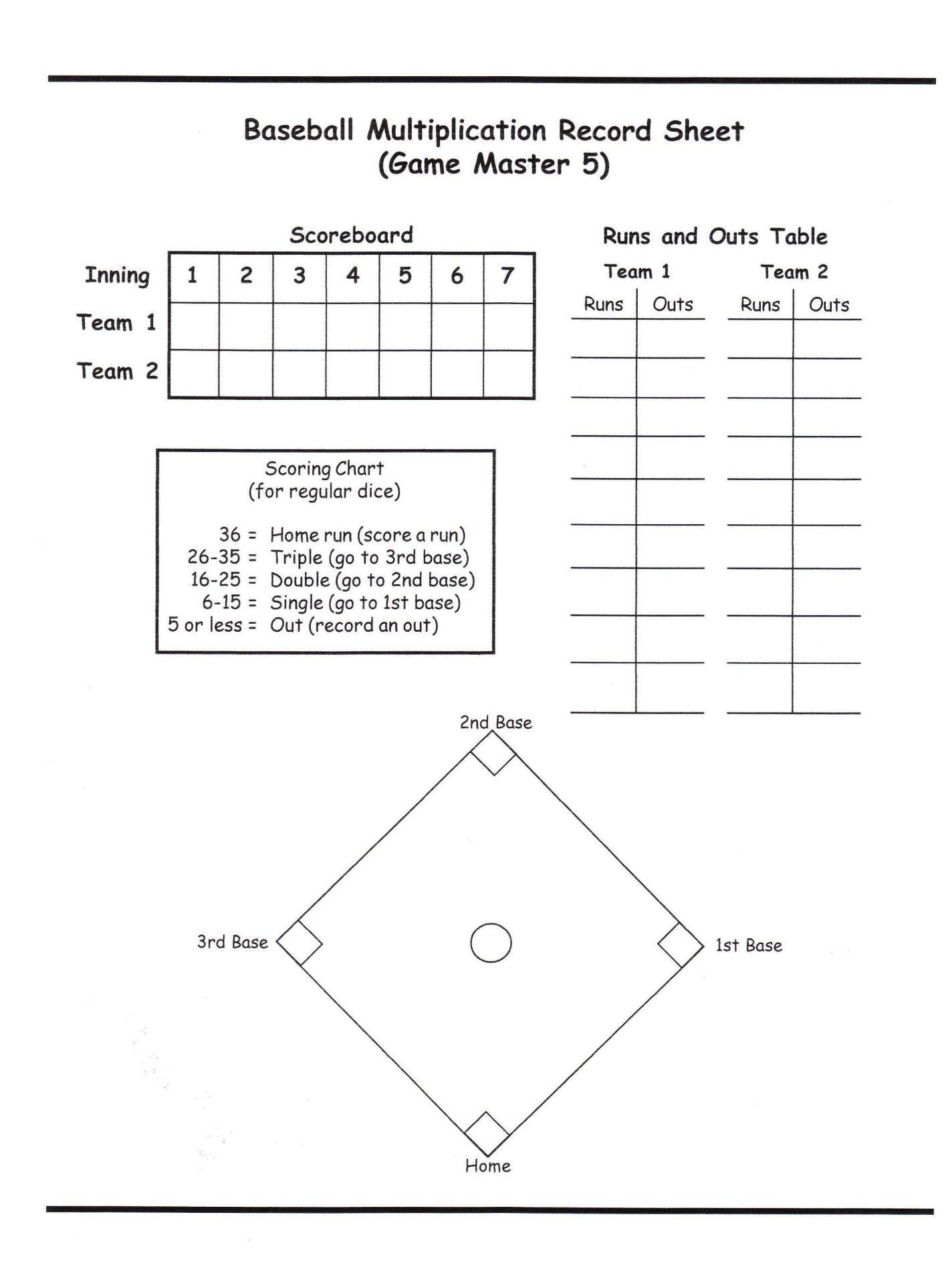 15 Math Baseball Worksheet
