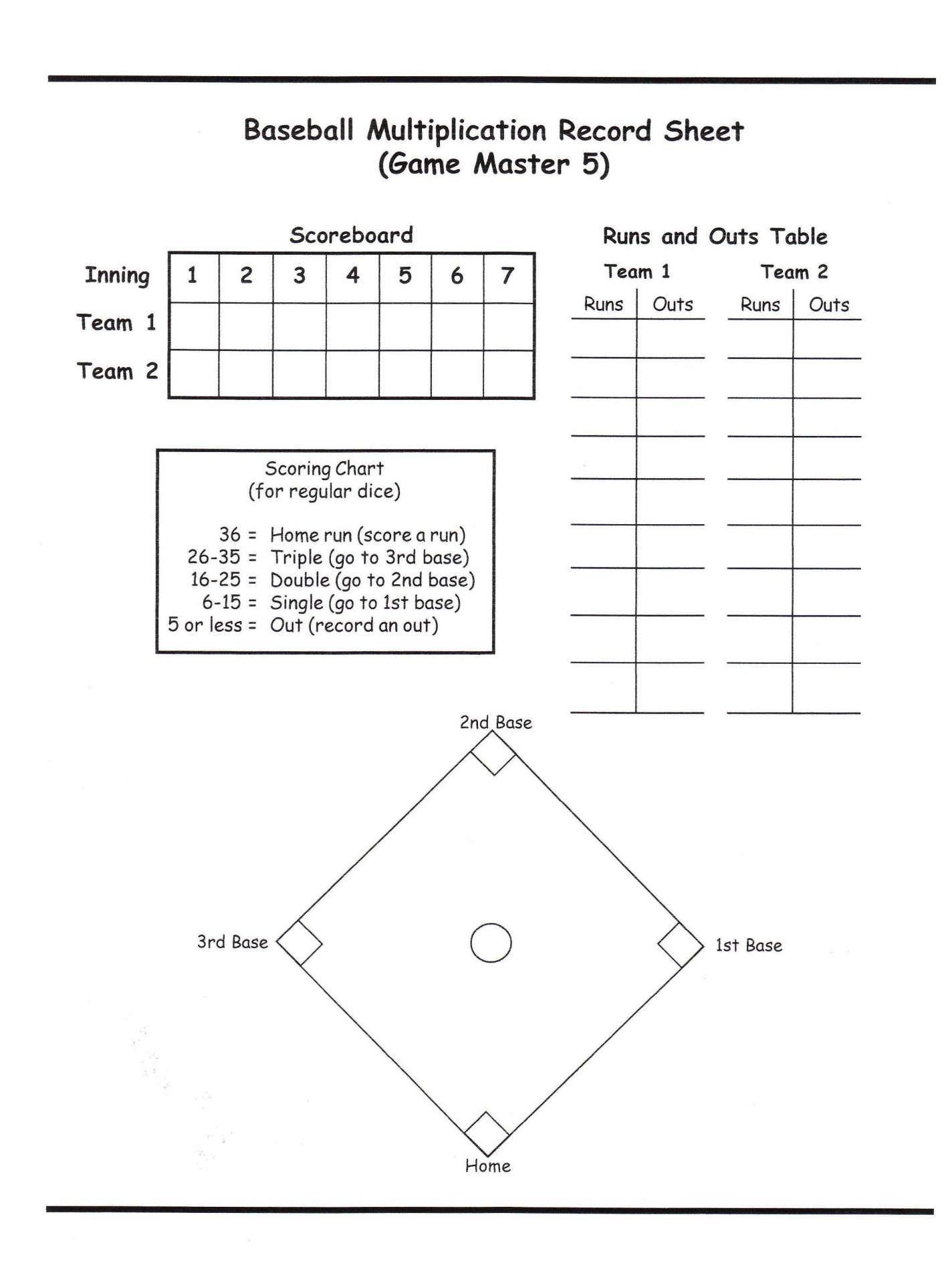 15 Math Baseball Worksheet