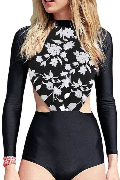 White Flowery Print Long Sleeve Surfing One Piece Swimsuit LAVELIQ