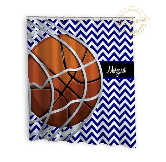 Basketball Shower Curtains Sports Chevron Blue Basketball