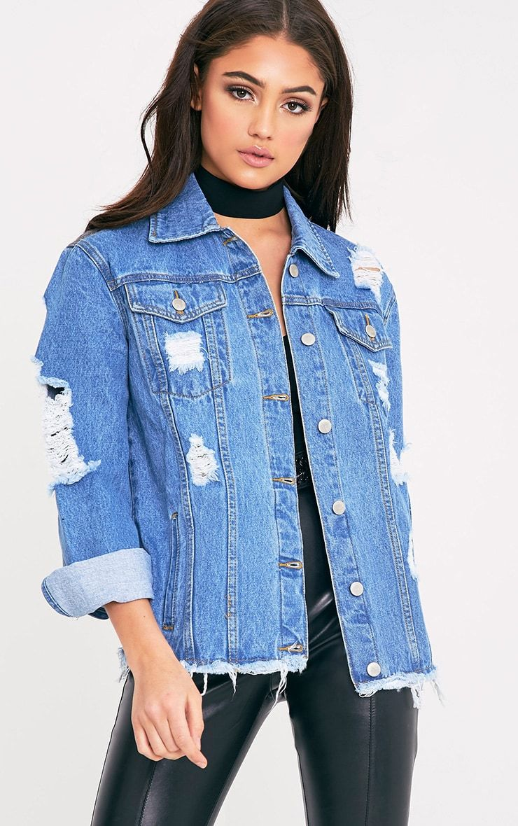 Pin By Cecile Huynh On Cutetightandshiny 23 Oversized Distressed Denim Jacket Denim Jacket Denim Jacket Women [ 1180 x 740 Pixel ]