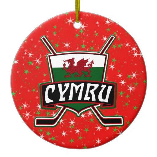Ice #Hockey Christmas Ornament Welsh Flag.  Custom printed ceramic Christmas decorations. Check my store: http://www.zazzle.com/gamefacegear*/  for many more seasonal products. #ChristmasOrnaments