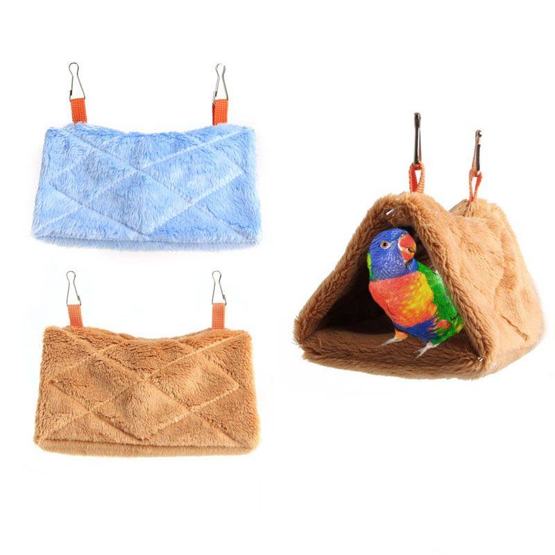 Beige Hammock Lays Plush Parrot Hammock Hanging Bed Bird Pigeons Hut Tent Cage Cave