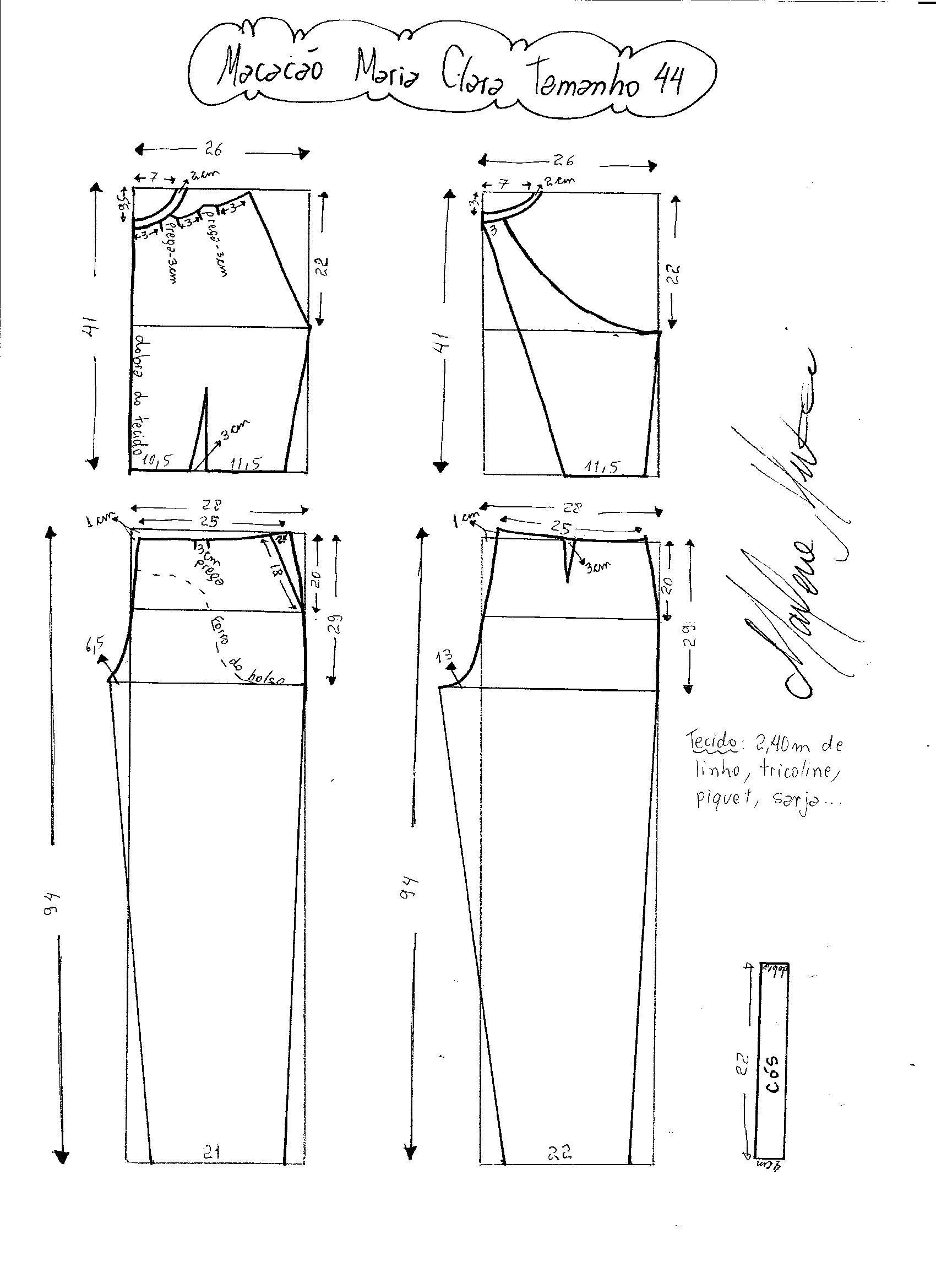 Macacão Maria Clara | Pinterest | Costura, Molde y Patrones de costura