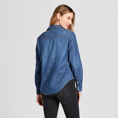 ef94b9d2f28814 Women s Labette Denim Shirt Long Sleeve Button-Down Shirt - Universal  Thread Dark Wash M