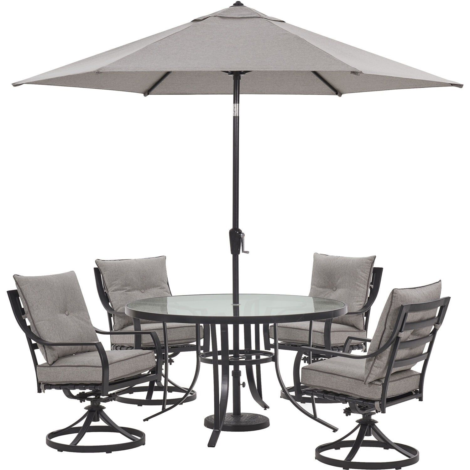 Hanover Lavallette 5 Piece Dining Set In Silver Linings With 4