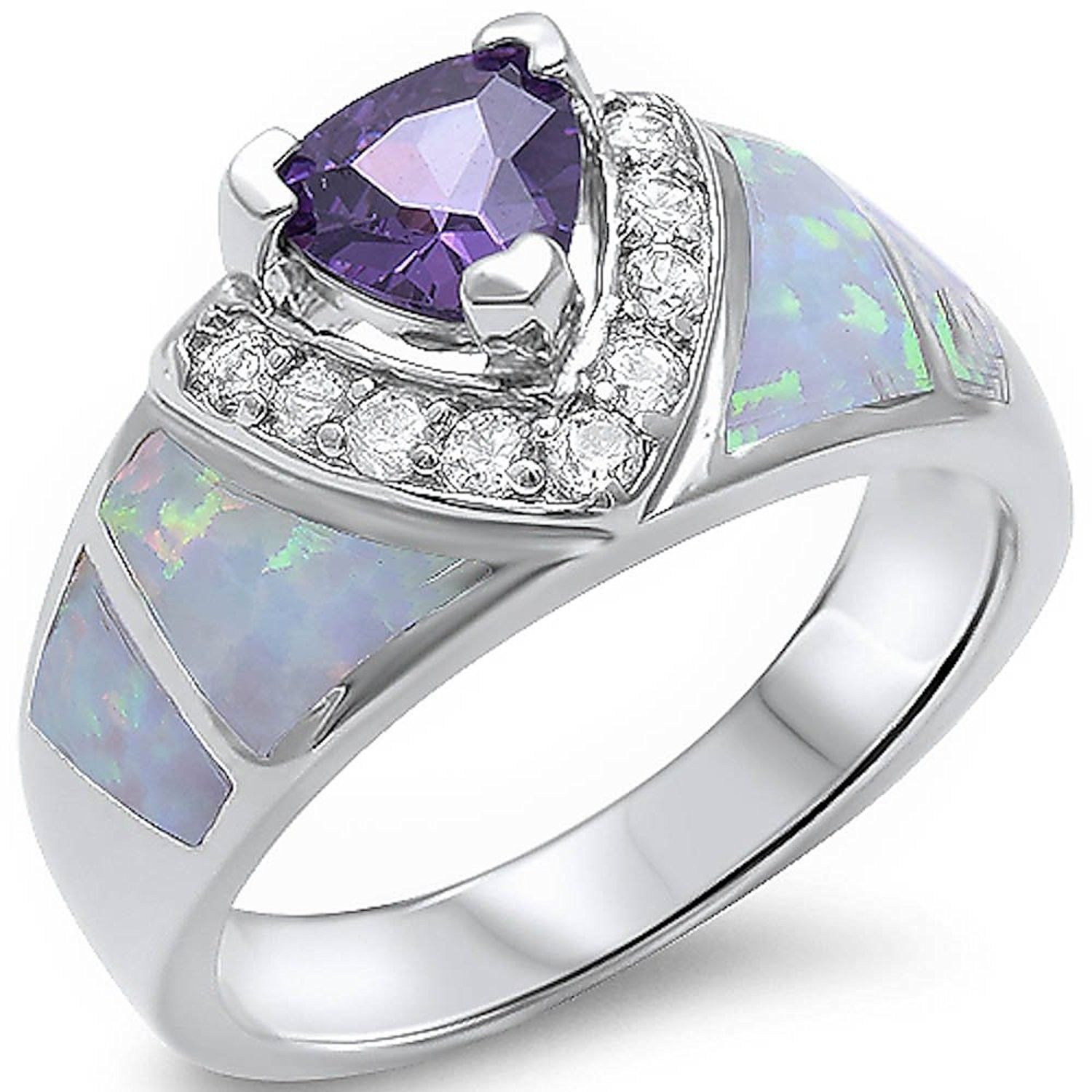 Amethyst CZ White Lab Opal Fashion Ring New .925 Sterling Silver Band Sizes 5-10
