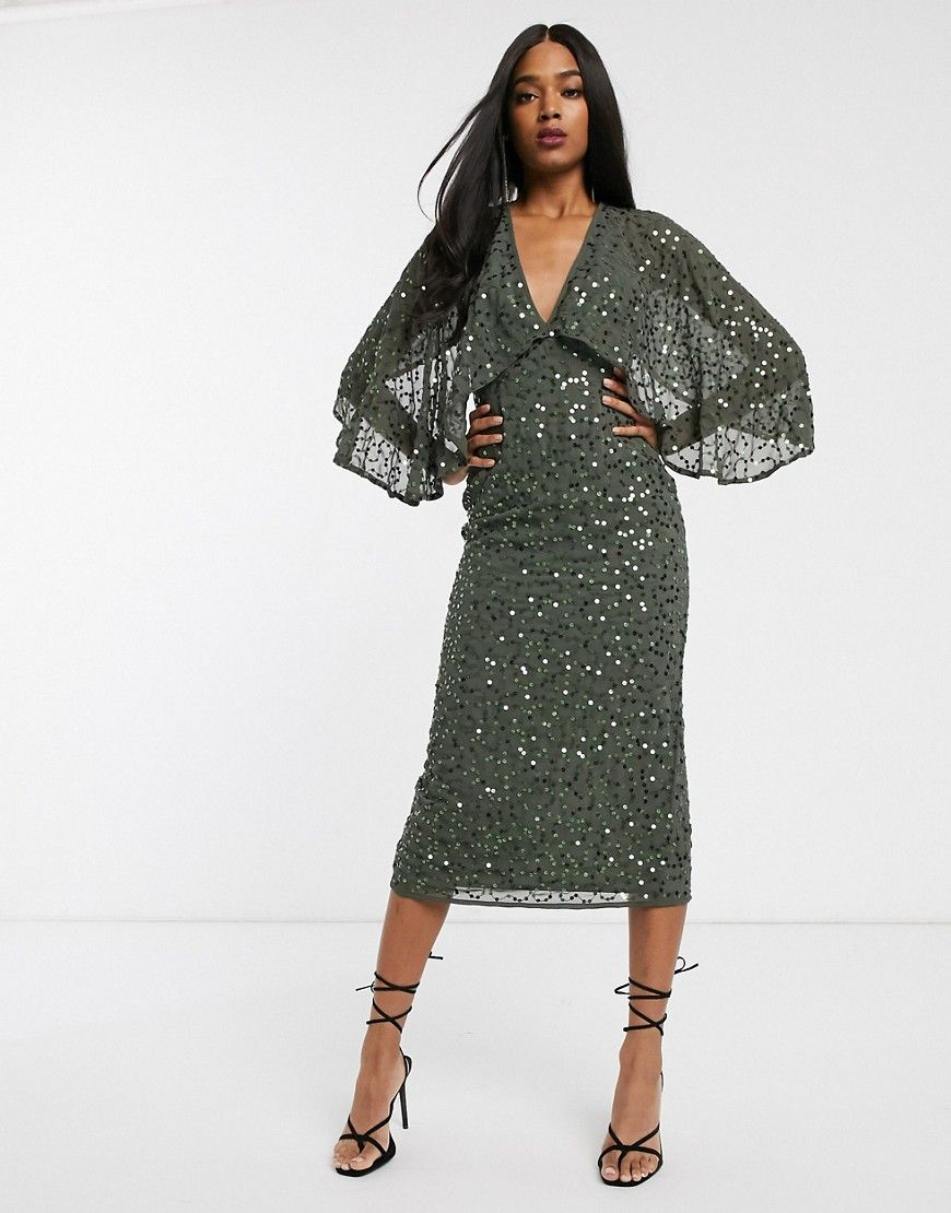 Photo of ASOS Midi dress with cape kimono sleeve in scatter sequin-Pu…