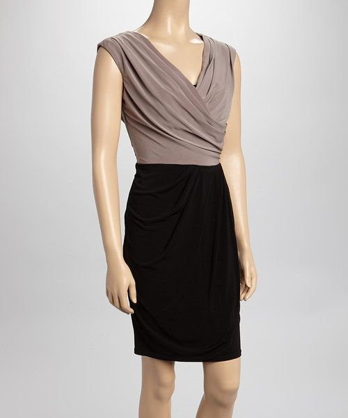 Take a look at the SL Fashions Black & Taupe Drapped Sleeveless Dress on #zulily today!