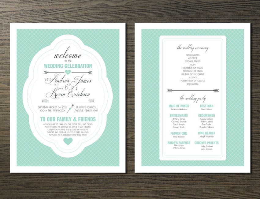 Wedding Program DIY Mint Green Hearts and by PaperInvitations - how to design wedding program template