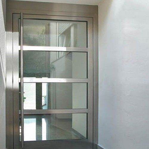 fully chromed steel entry doors with clear glass cover and angled
