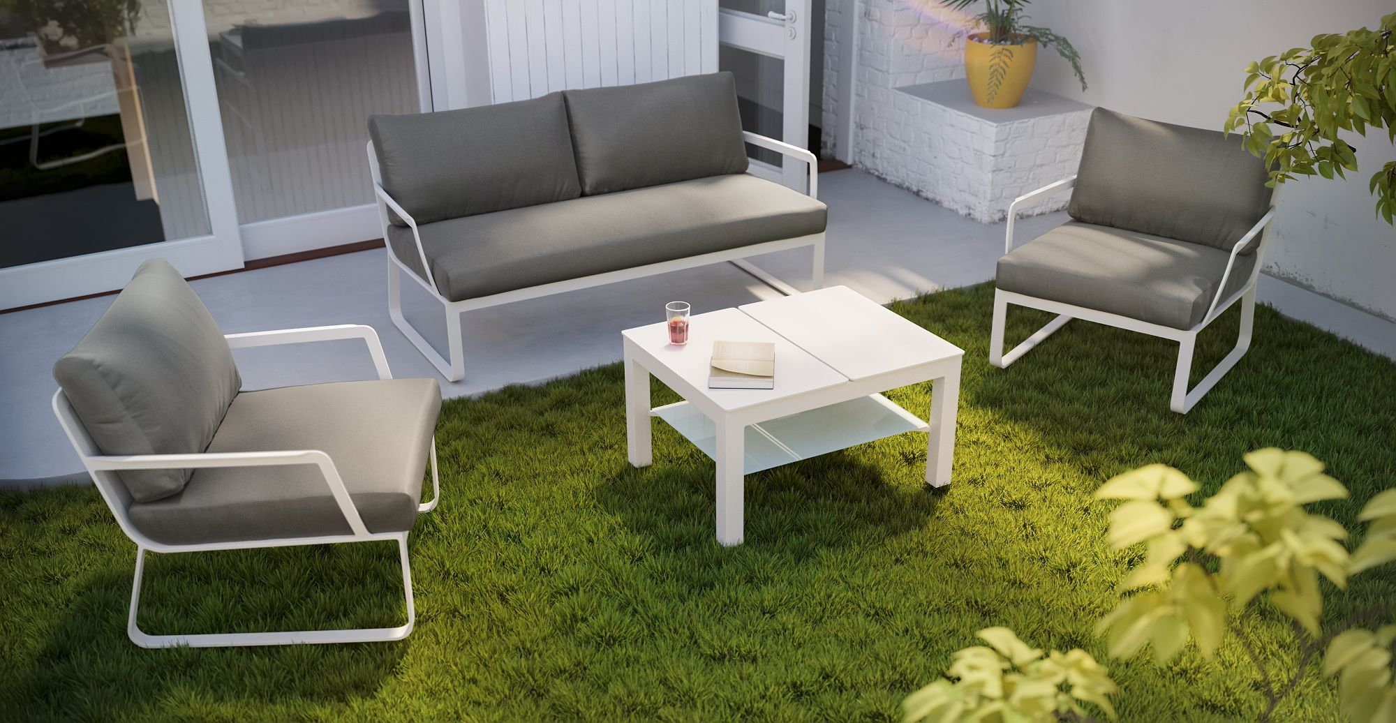 Lummus outdoor lounge set is the outdoor trend minimal yet sophisticated elegant with so
