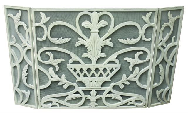 French Country Antique White or Gold Urn Mesh Iron Fireplace Screen,47.75''L. #FrenchCountry